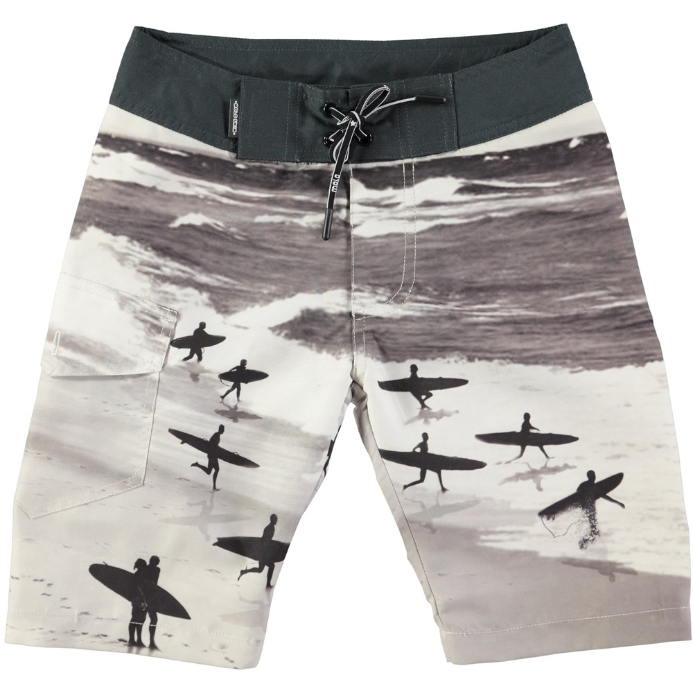 Nalvaro - Running Surfers - loose fit boardies with surf print