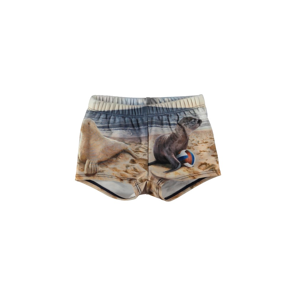 Nansen - Play With Me - Baby swim trunks with seal print.