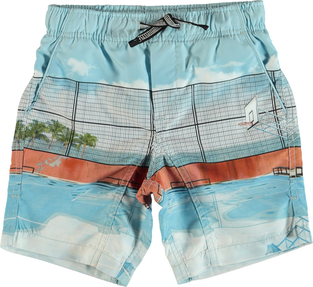 Nario - Basket Court - Swim trunks with basketball court.