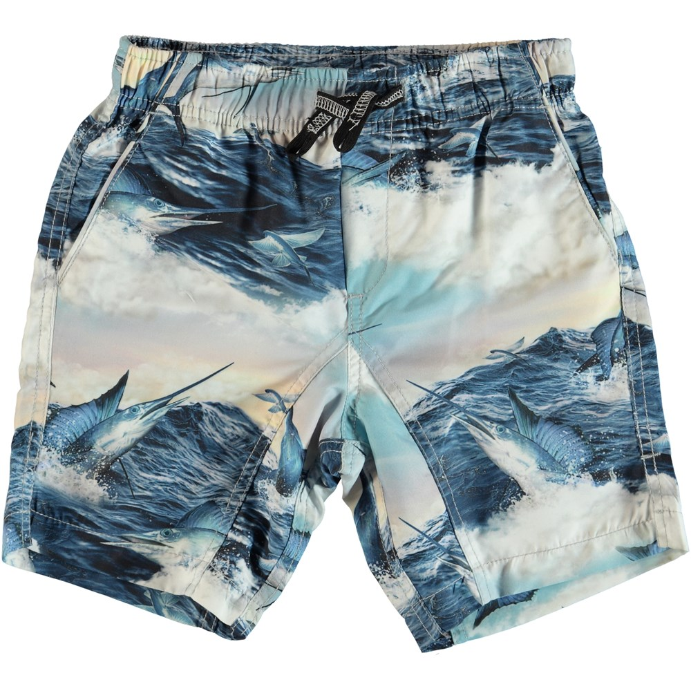 Nario - Jumping Svordfish - Swim trunks with swordfish print.