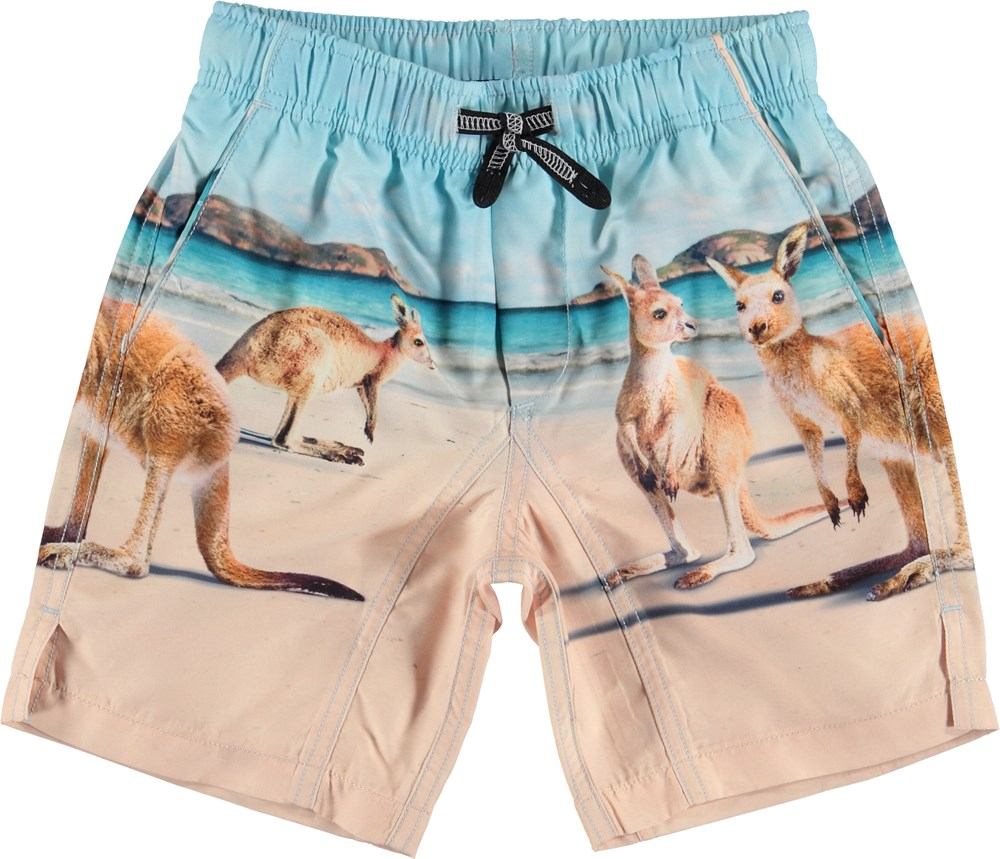 Nario - Kangaroos - Long UV swim trunks with kangaroo print