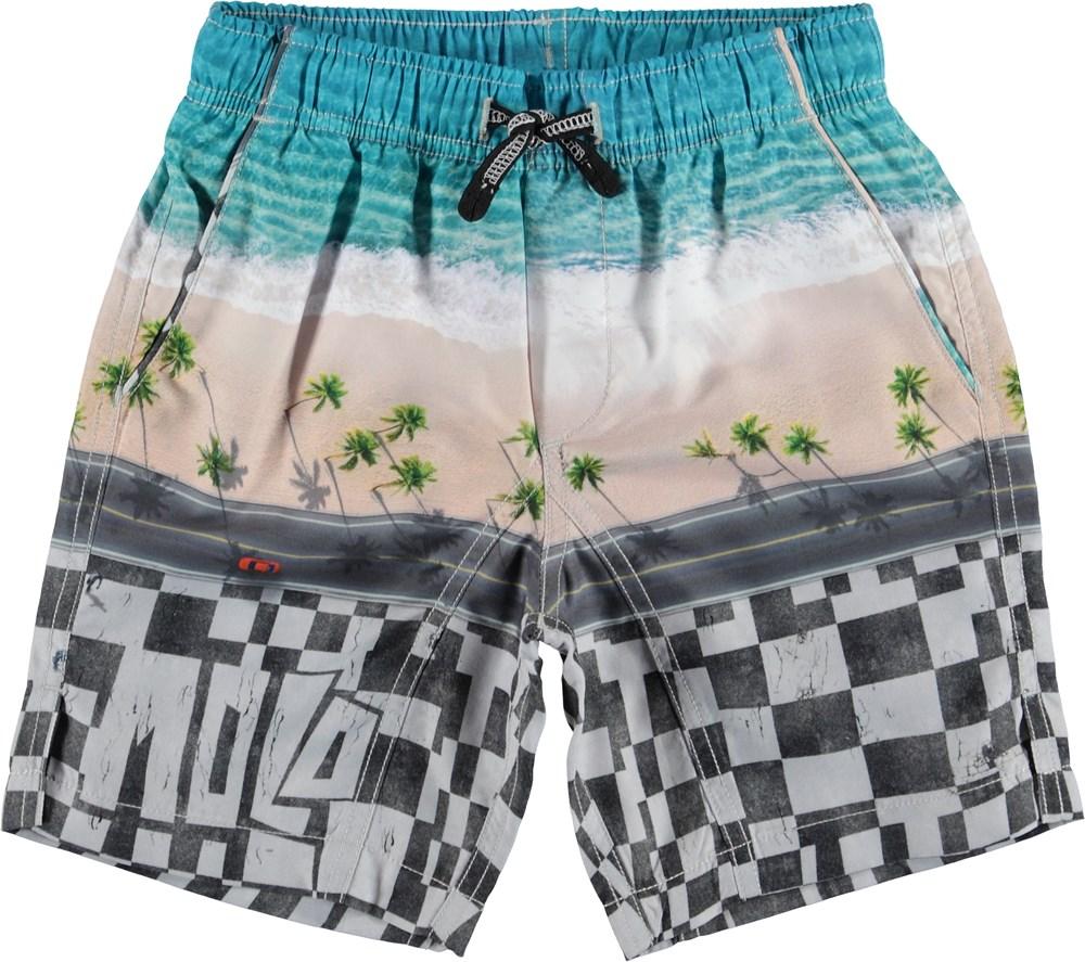 Nario - Playa - Long UV swim trunks with beach print