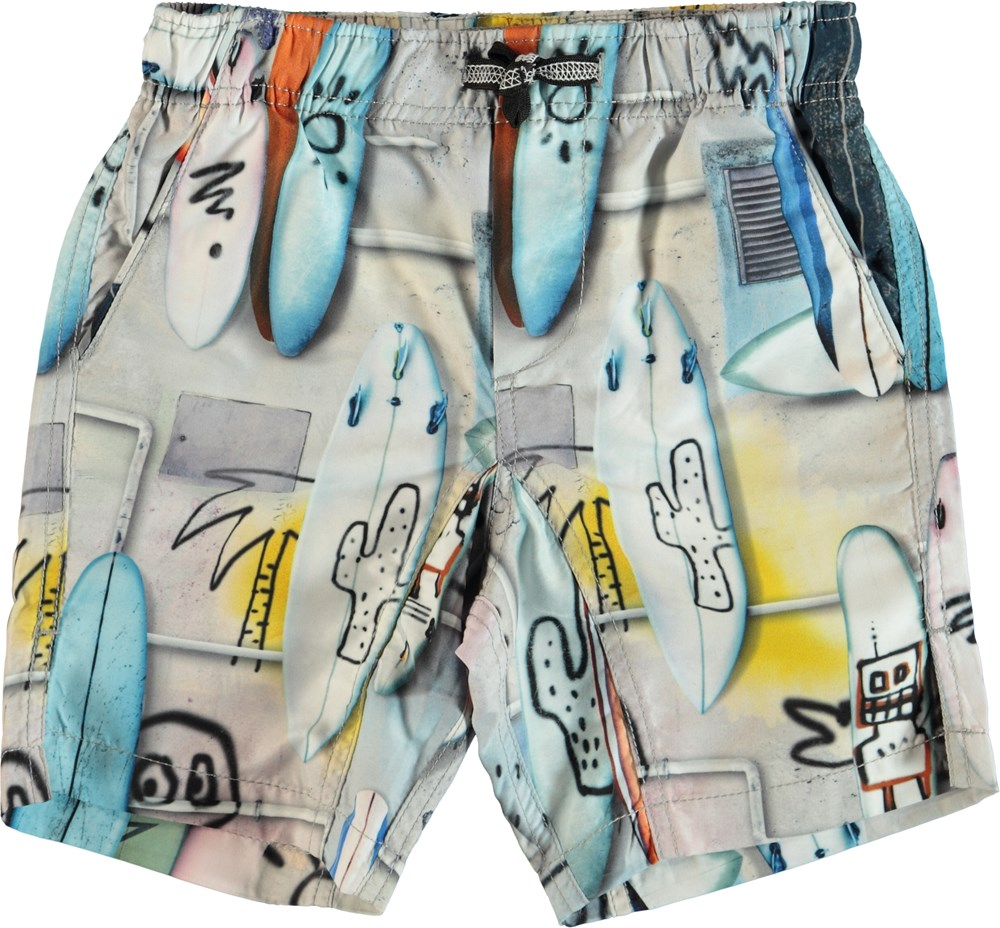 Nario - Summer Walls - Swim trunks with surfboards.