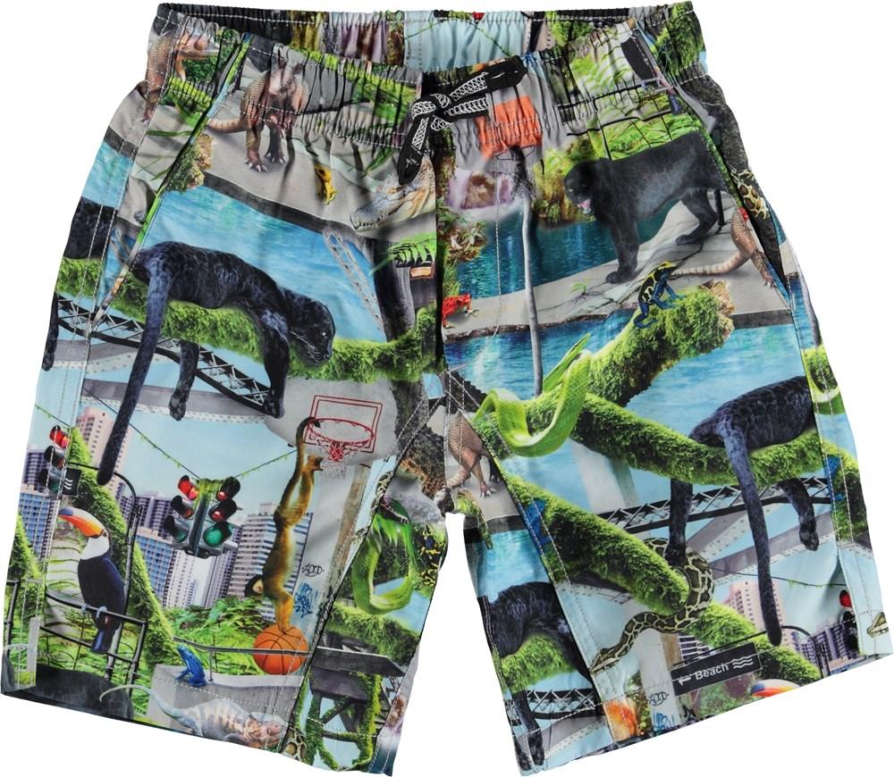 Nario - Urban Jungle - Long UV swim trunks with animal print