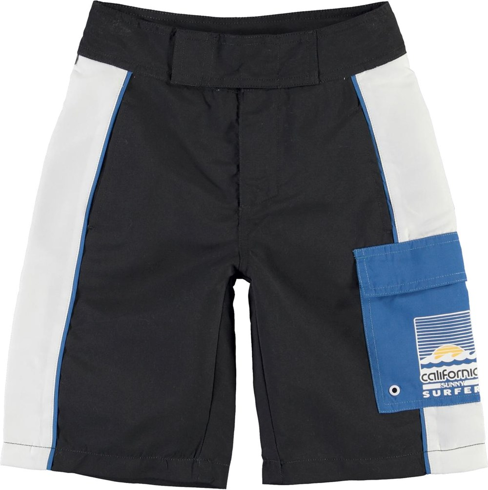 Natan - Black - Long UV swim trunks with blue pocket