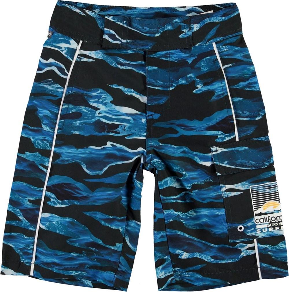 Natan - Camo Waves - Long UV swim trunks with blue waves
