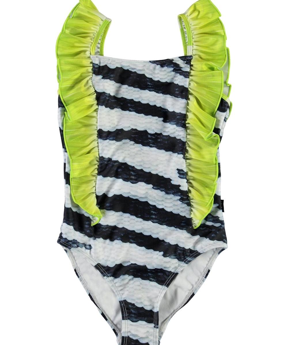 Nathalie - Zebra Fish - UV swimsuit with green ruffle