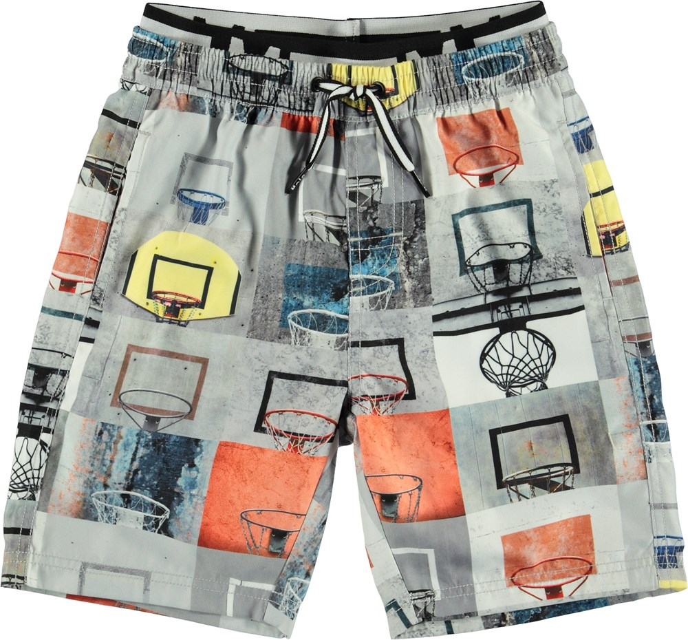 Neal - Basket Check - Long UV swim trunks with basketball print