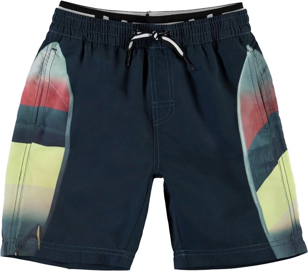 Neal - California Surf - Long UV swim trunks in black with print