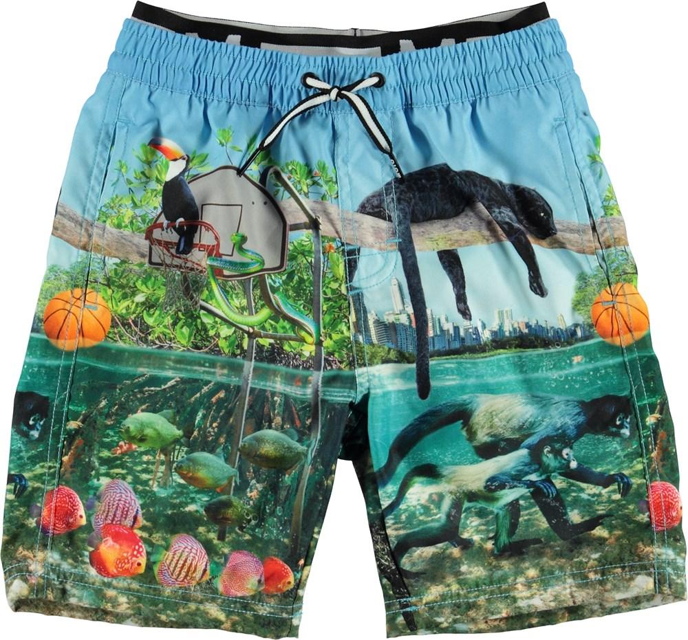 Neal - Jungle Fever - Long UV swim trunks with Jungle print