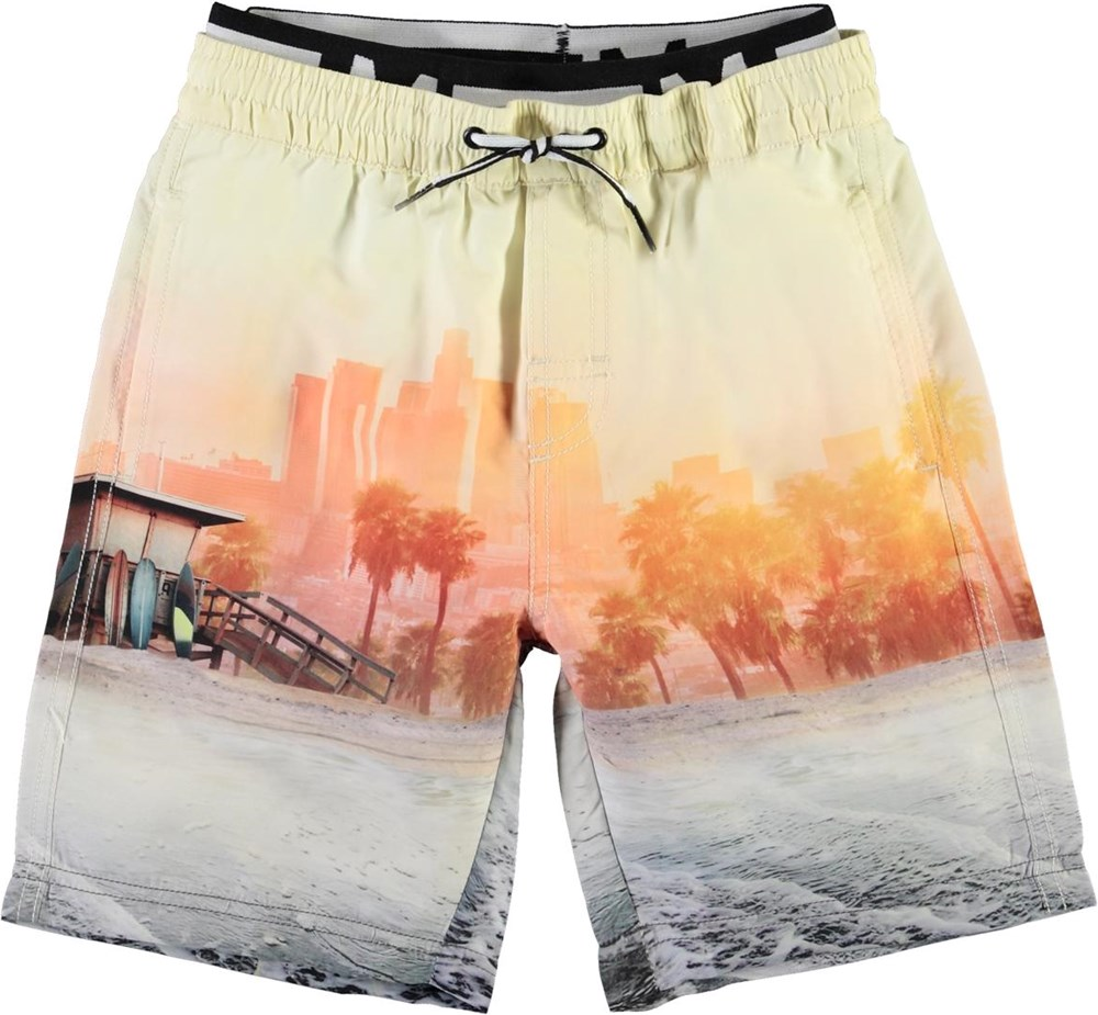 Neal - Off Shore - Long UV swim trunks with beach print