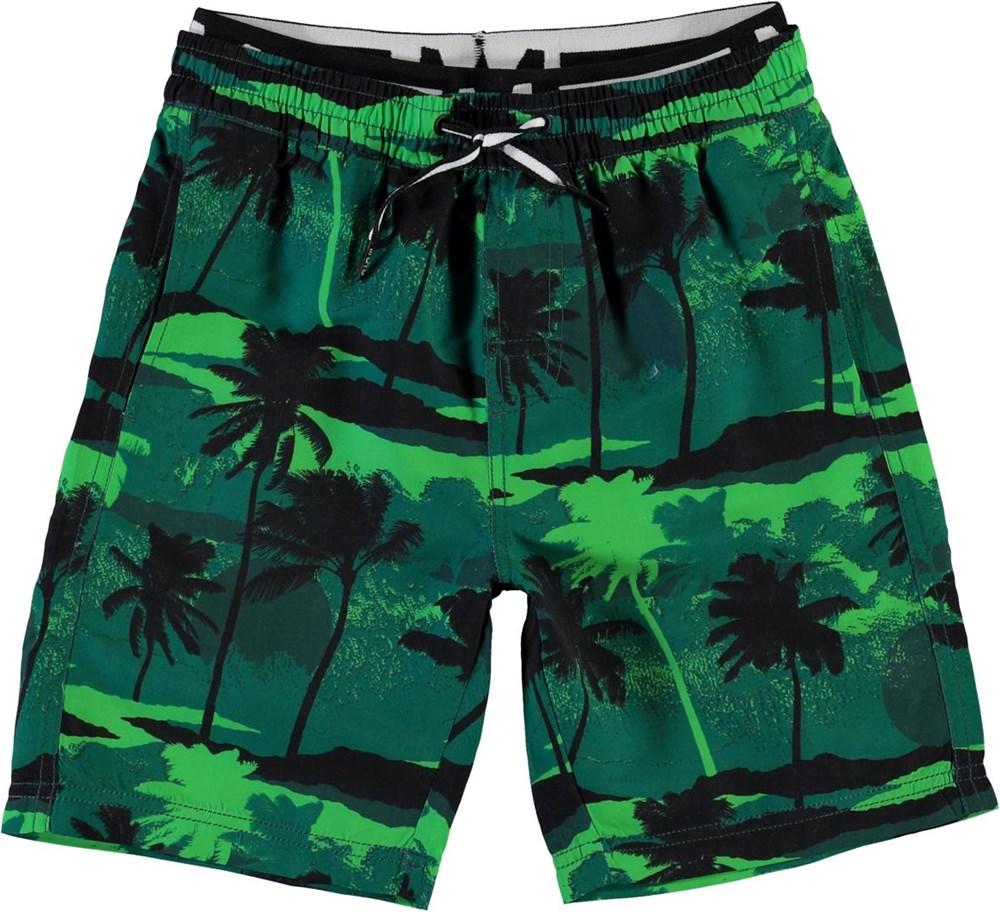 Neal - Palm Trees Green - Long UV swim trunks with palm tree print