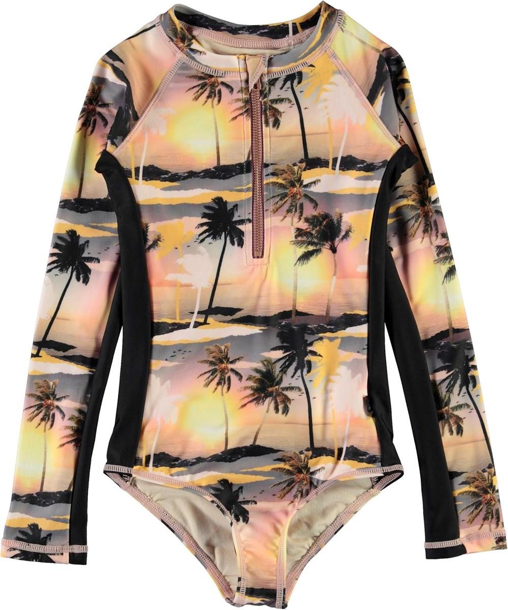 Necky - Sunset - UV swimsuit with palm tree print
