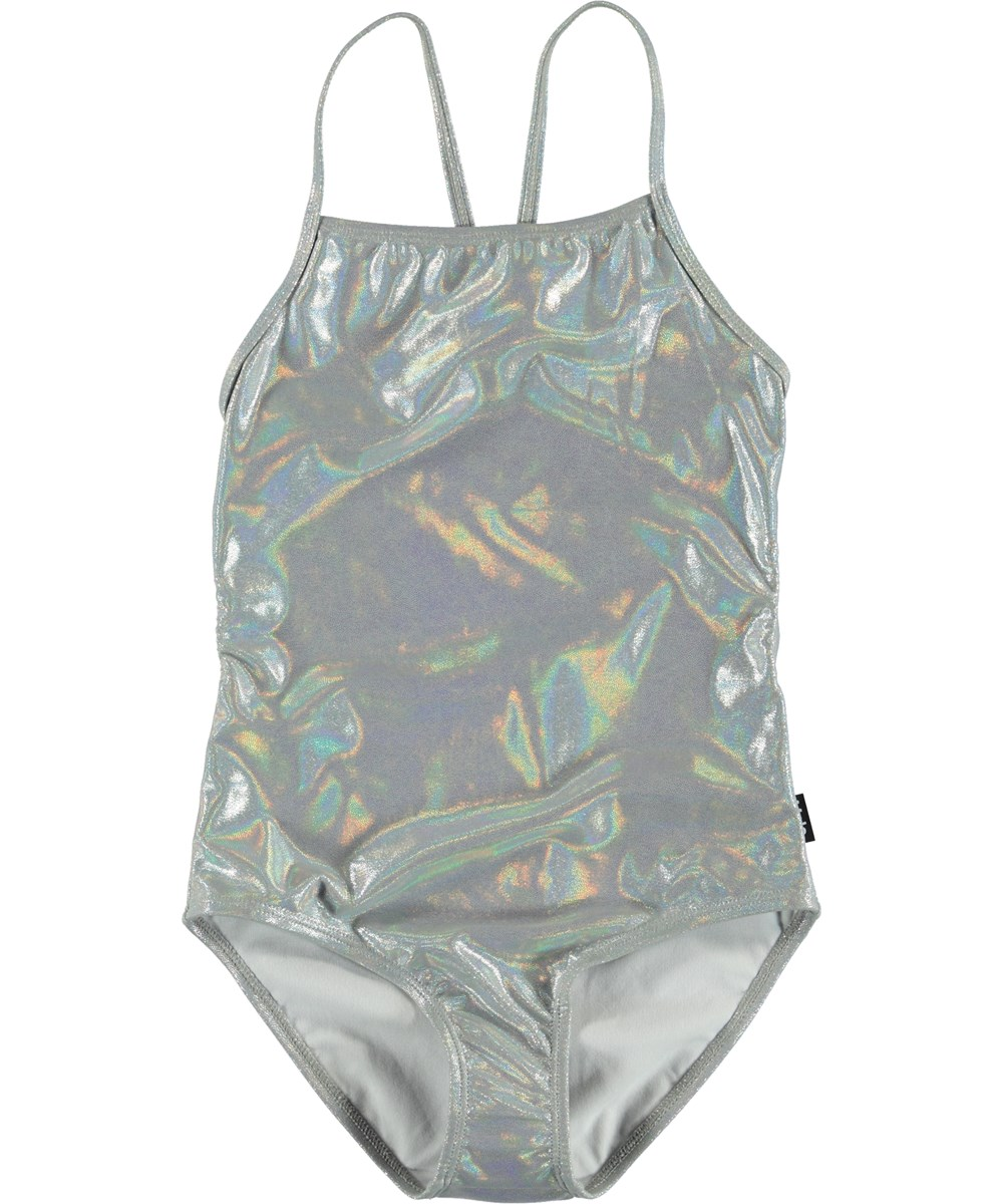 Neda - Silver Touch - Silver coloured UV swimsuit