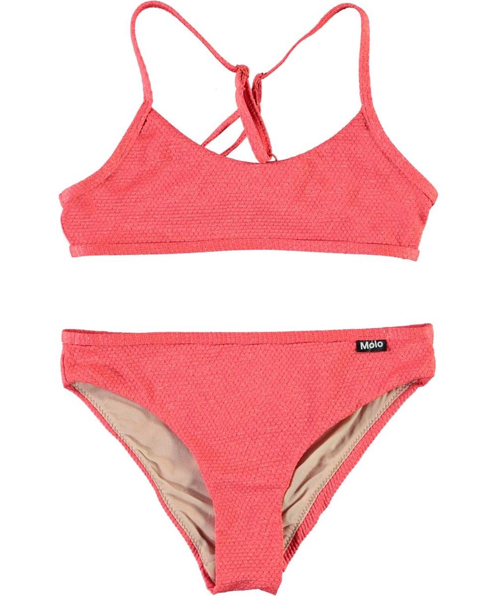 Neddy - Coral Glitter - UV coral red bikini