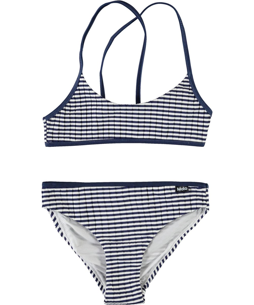 Neddy - Navy Stripe - Sporty blue and white striped bikini