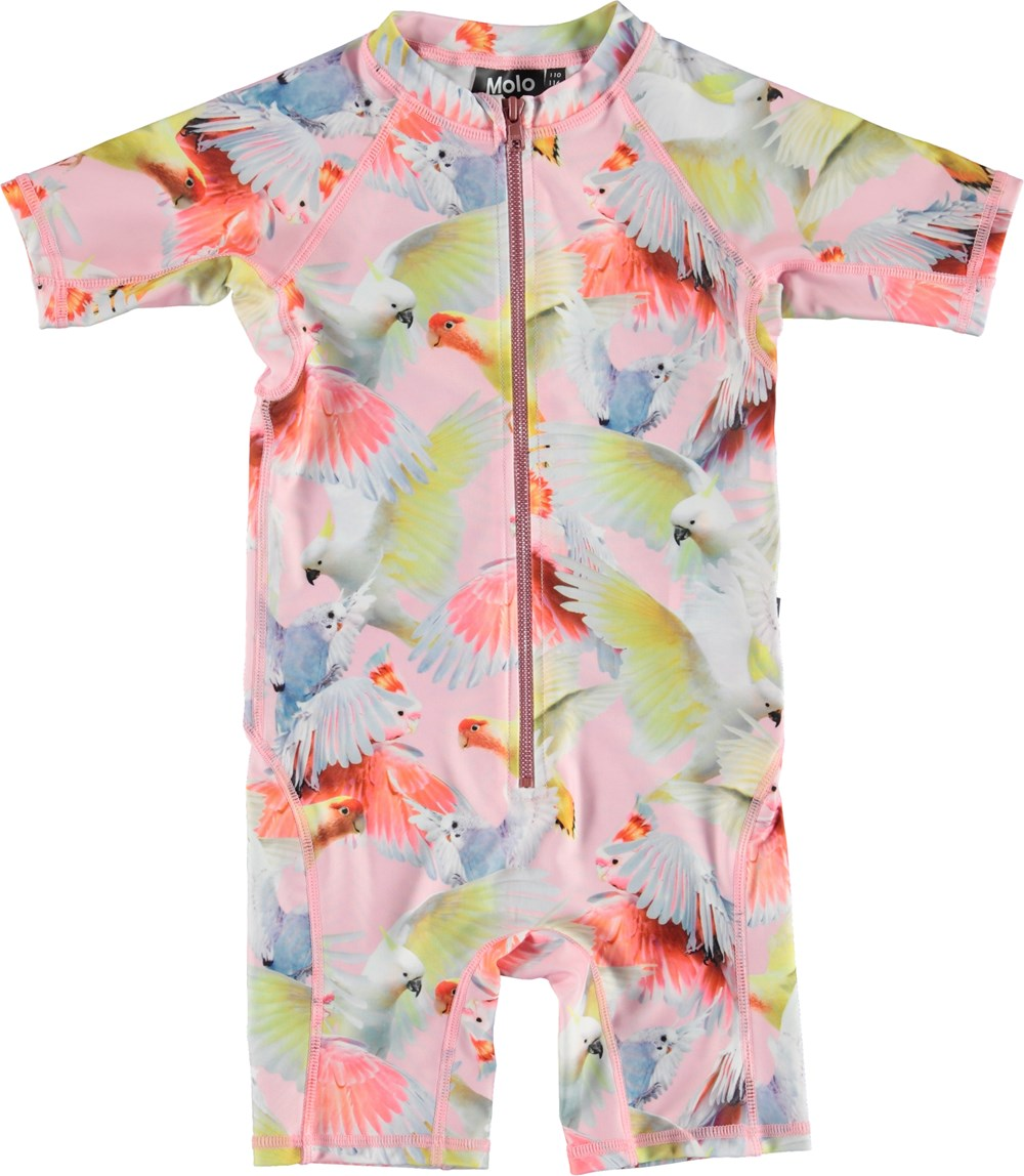 Neka - Cockatoos - UV swimsuit with  parrot print