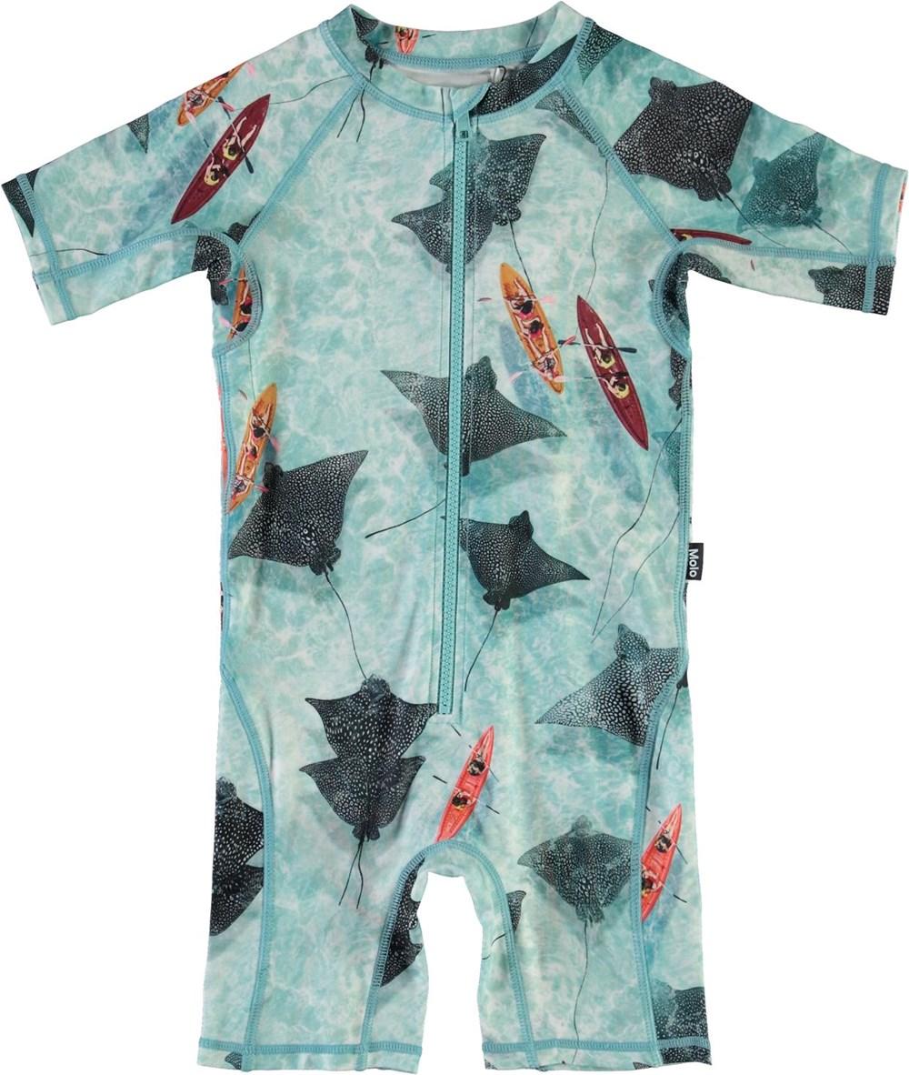 Neka - Hawaiian Ocean - Light blue UV swimsuit with stingray print