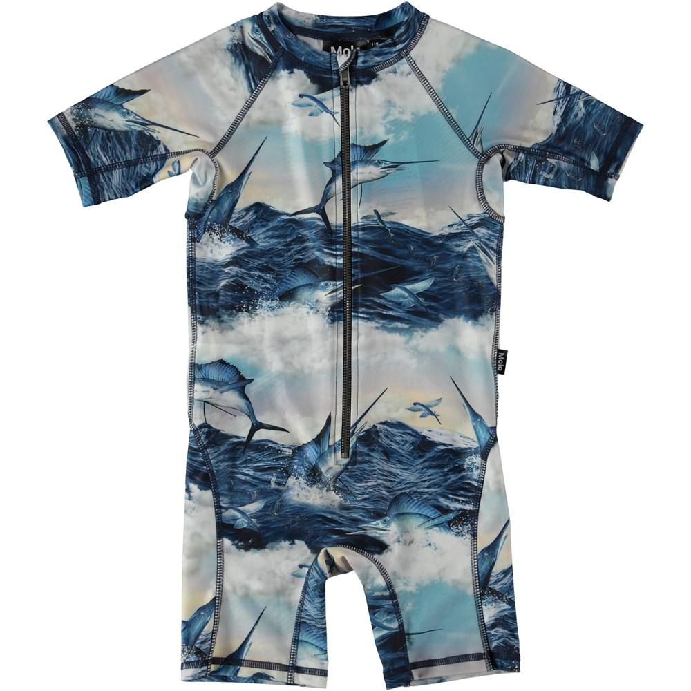 Neka - Jumping Svordfish - UV swimsuit with swordfish.