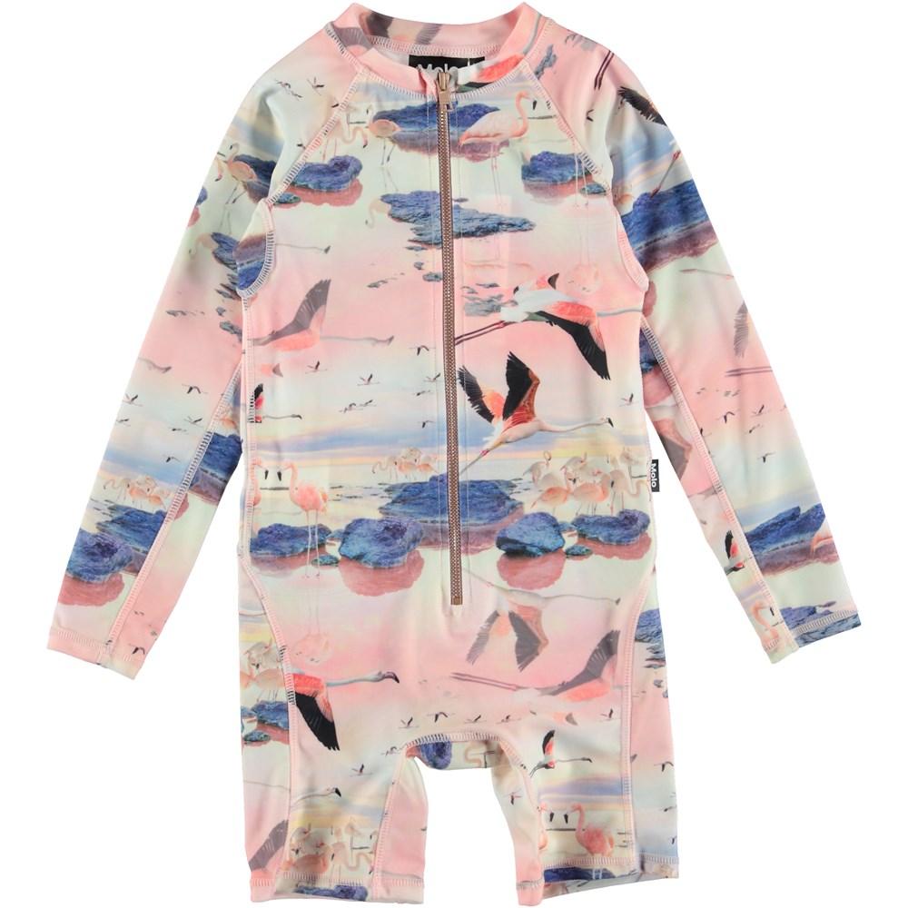 Neka L. - Flamingo - UV swimsuit with flamingos.