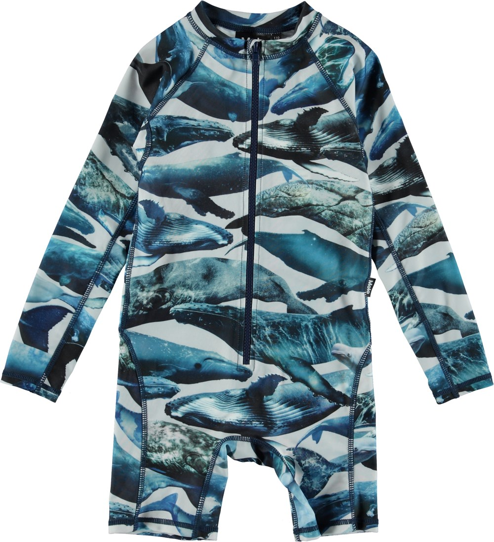 Neka L. - Whales - Long sleeve swimsuit with whale print