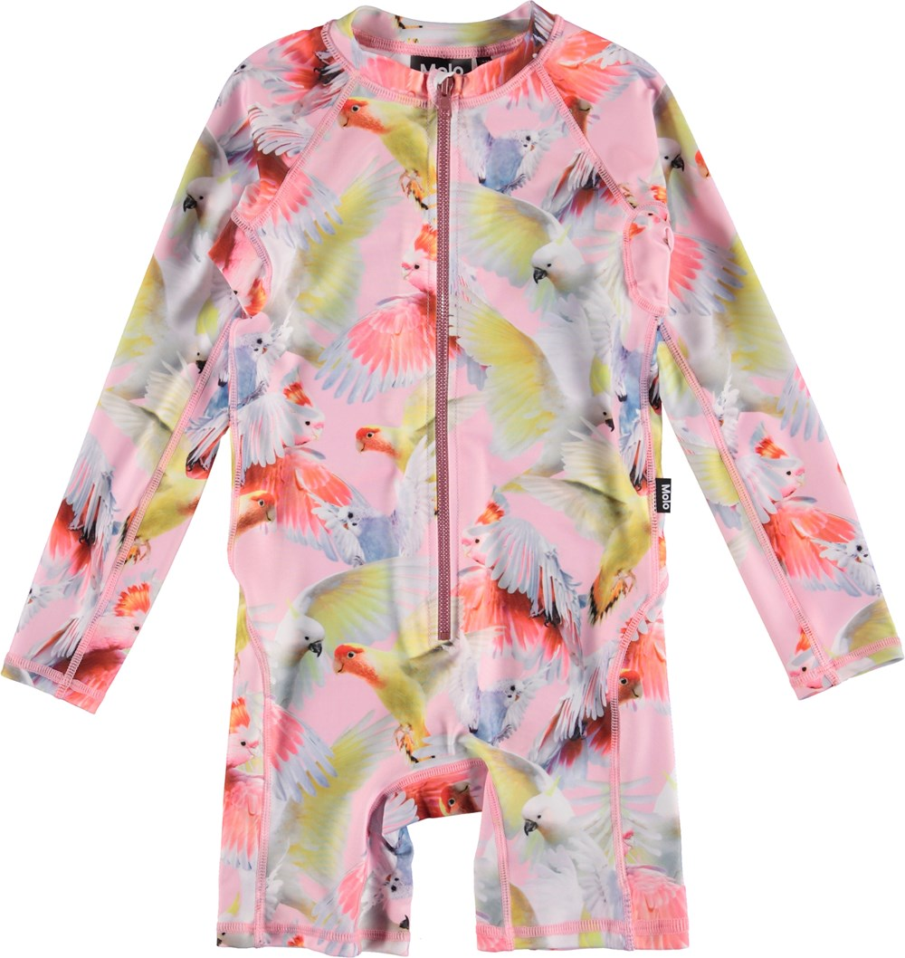 Neka LS - Cockatoos - UV swimsuit with parrot print
