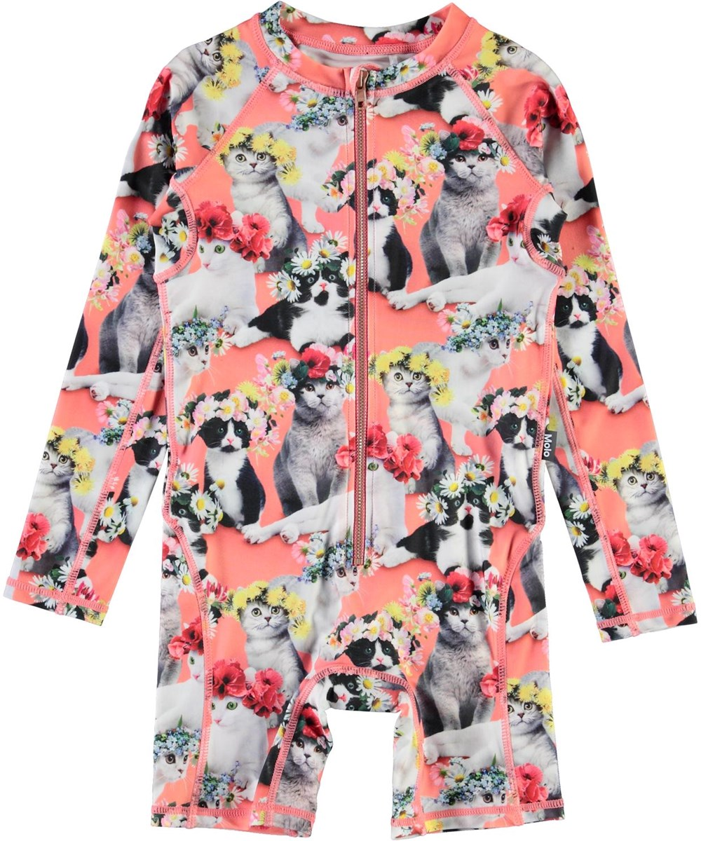 Neka LS - Flower Power Cats - UV swimsuit with cat print