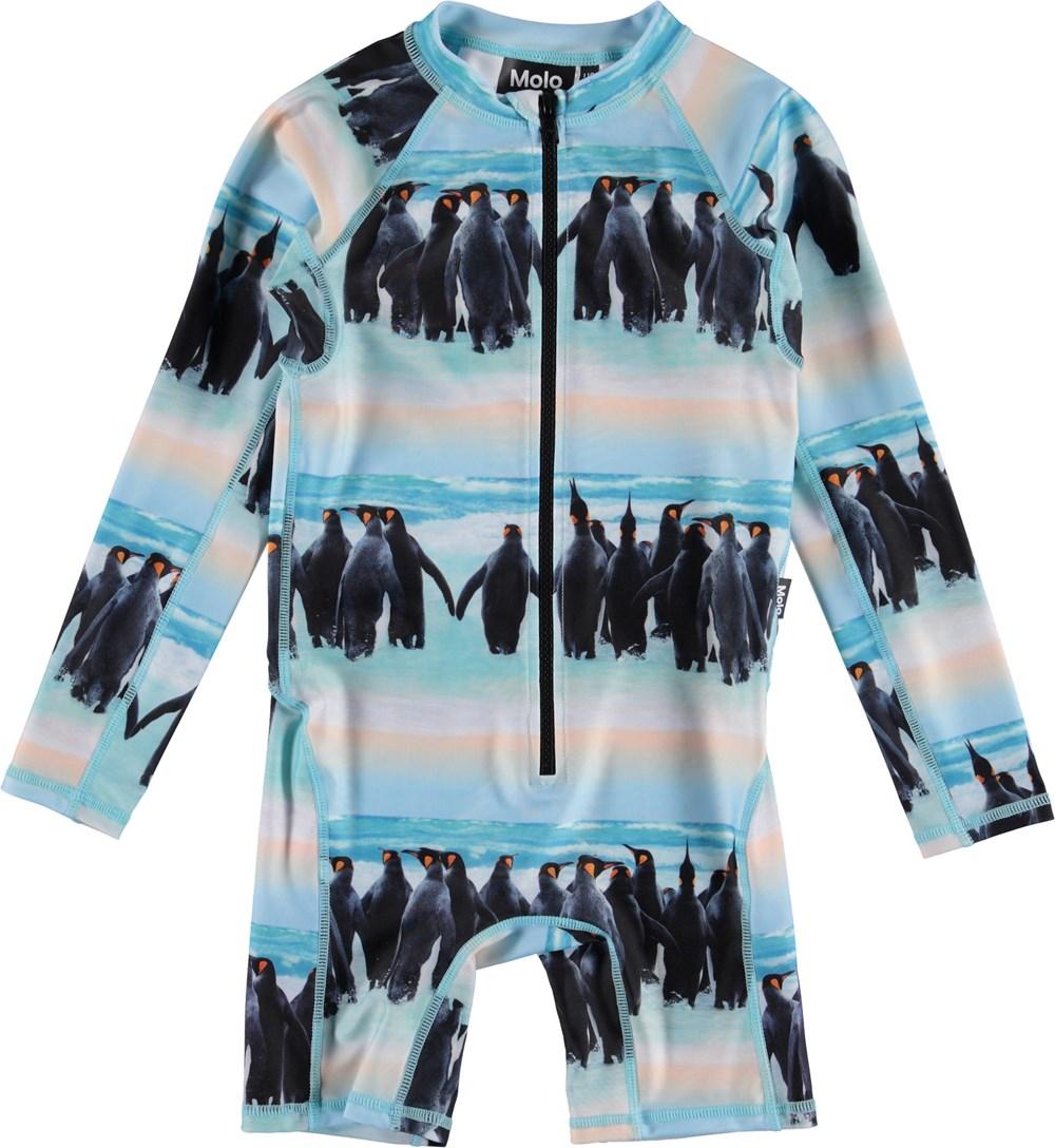 Neka LS - Penguin Stripe - UV swimsuit with penguin print