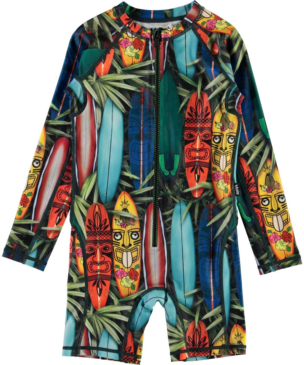 Neka LS - Tiki Surf - UV swimsuit with surfboards