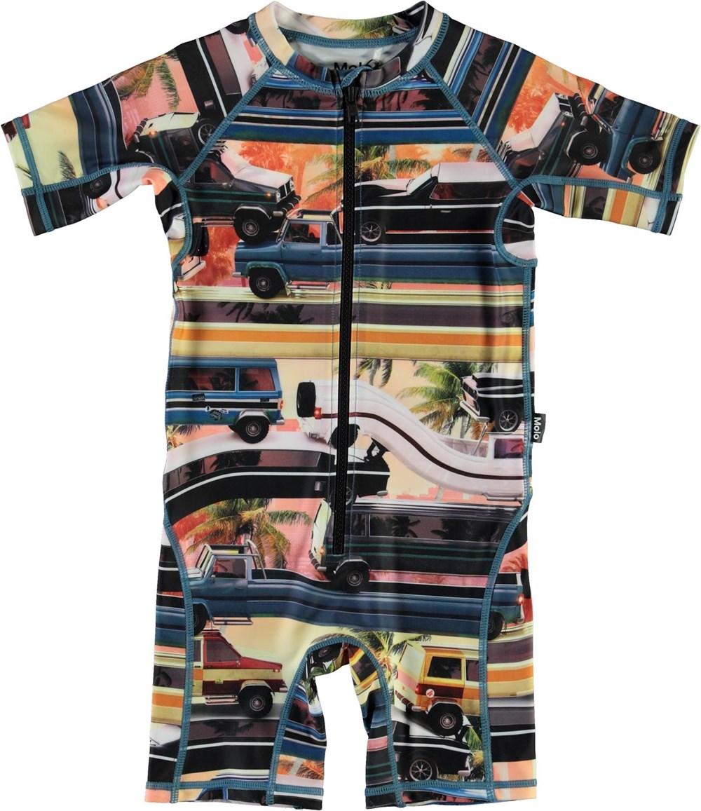 Neka - Mobile Molo - UV swimsuit with car print