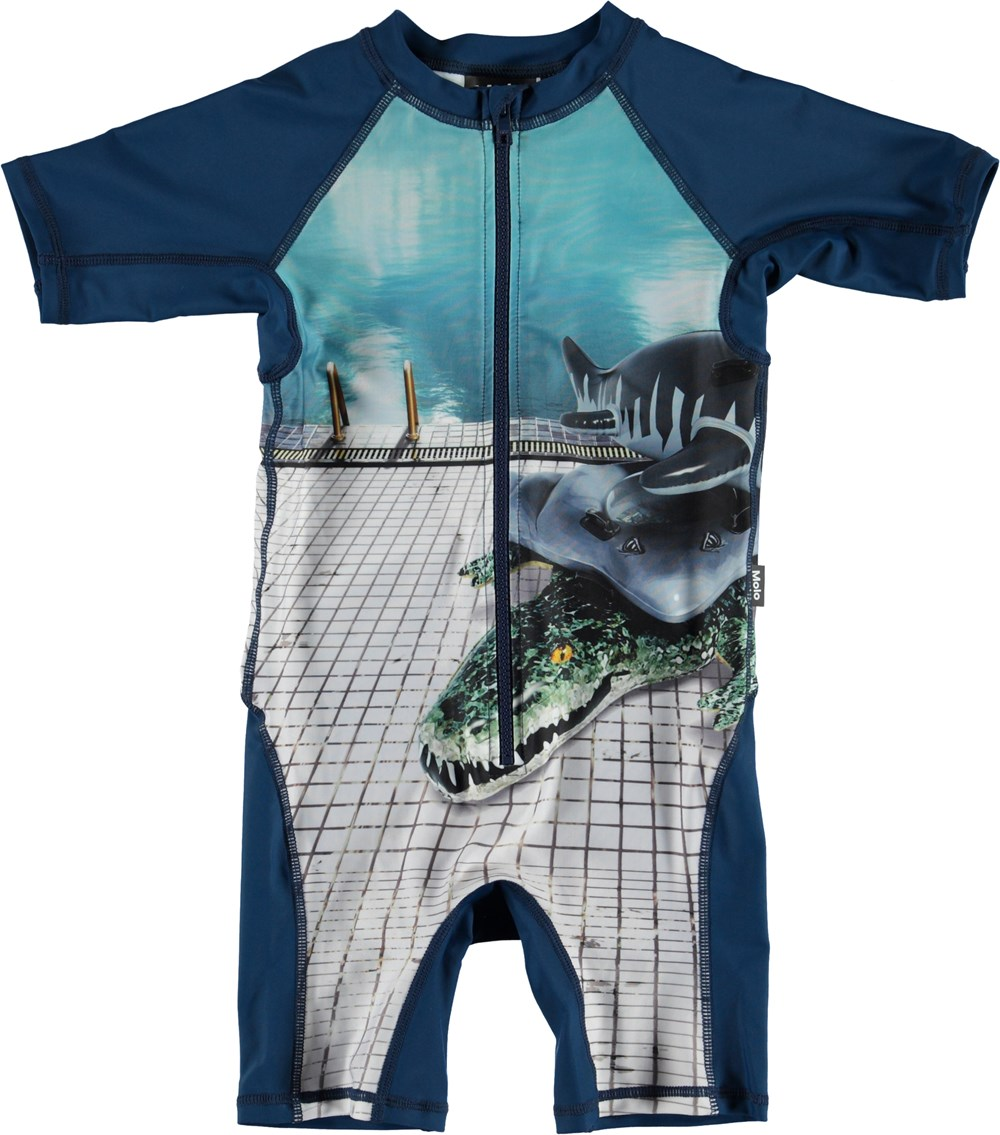 Neka Placed - Pool Side - Blue UV swimsuit with animal floats