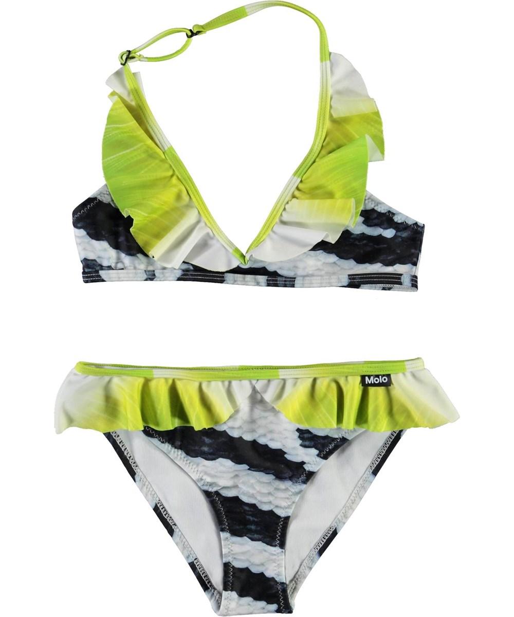 Nele - Zebra Fish - Black and white bikini with green ruffle edge