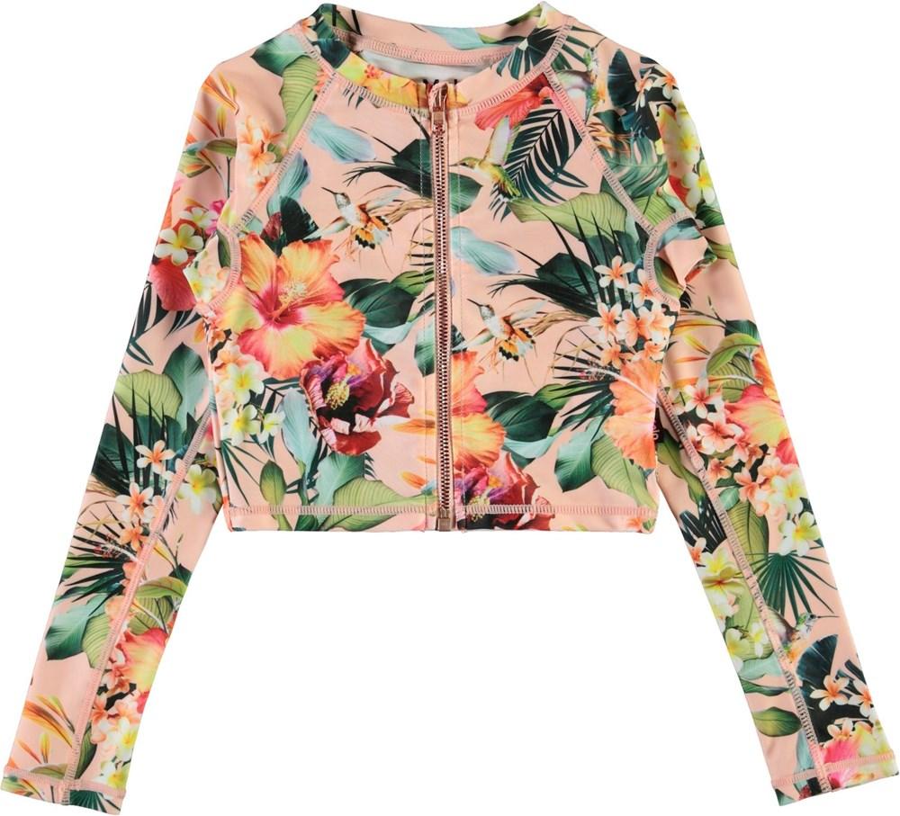 Nellie - Hawaiian Flowers - UV rashguard with zippers and flowers
