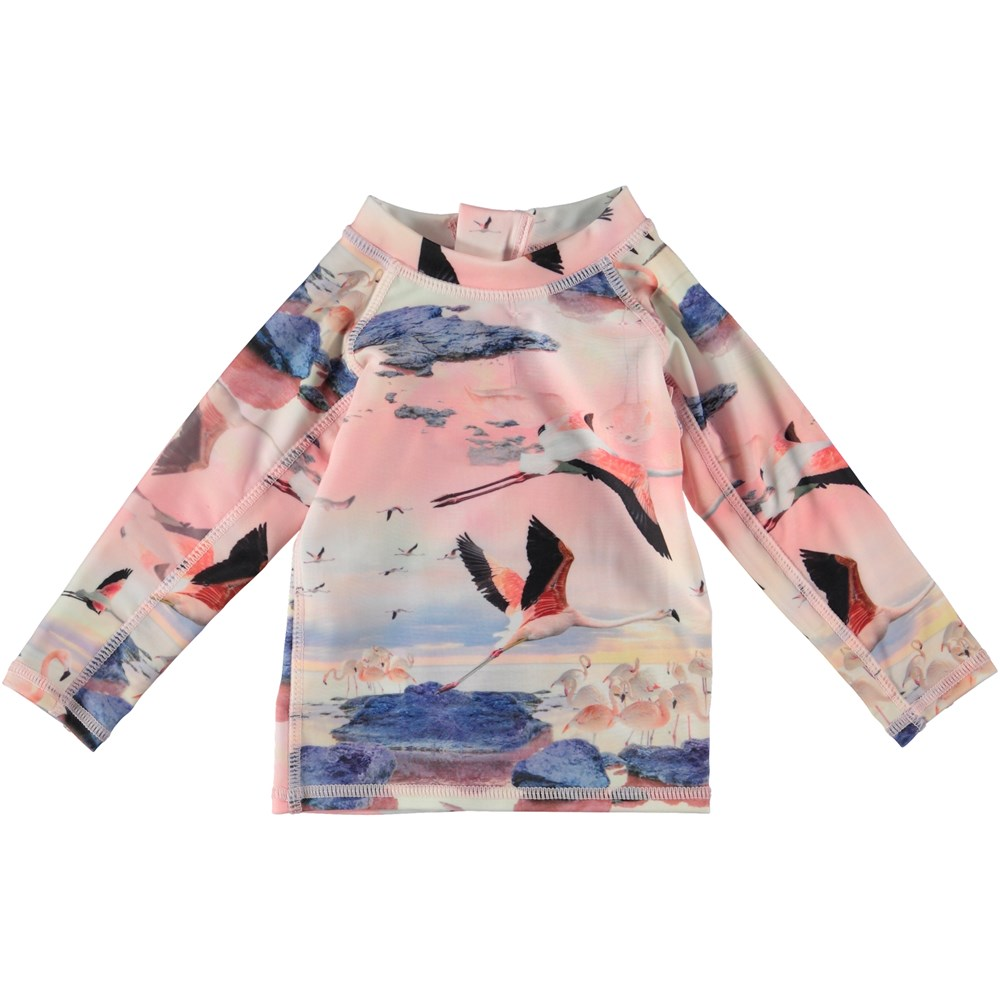 Nemo - Flamingo - Baby UV rash guard with flamingos.