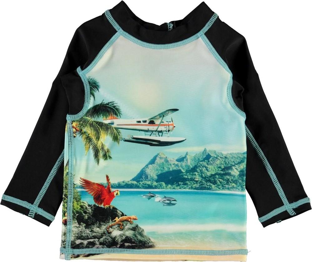 Nemo - Welcome To Hawaii - UV baby rashguard with beach and palm trees