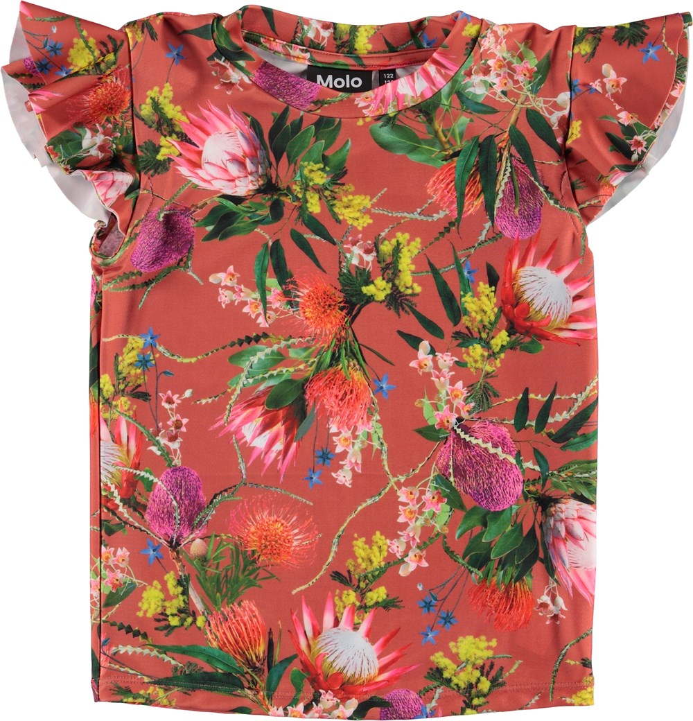 Neona - Australian Flowers - UV rashguard with a flower print