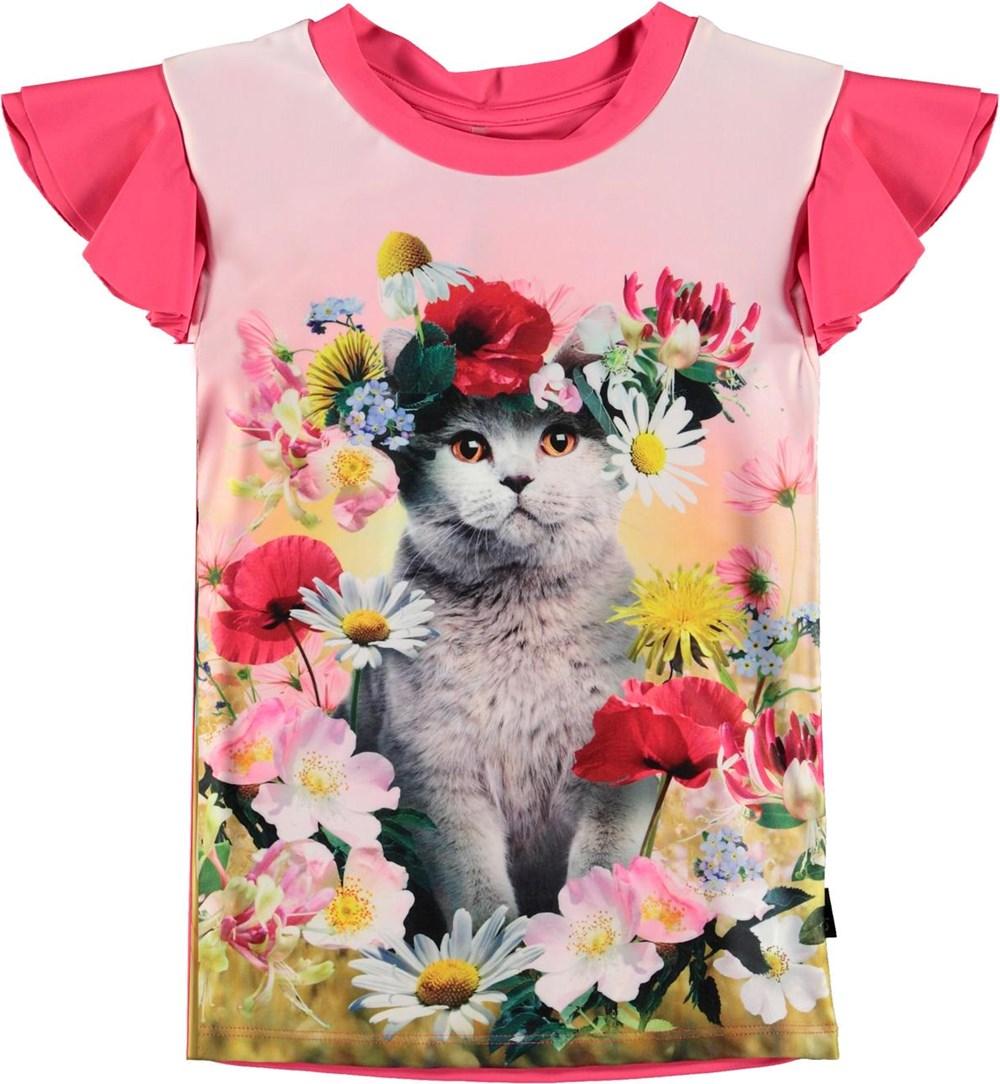 Neona - Flower Cat - UV rashguard with cat print