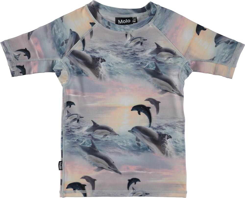 261b235480 Neptune - Dolphins Sunset - Short sleeve rash guard with digital dolphin  print