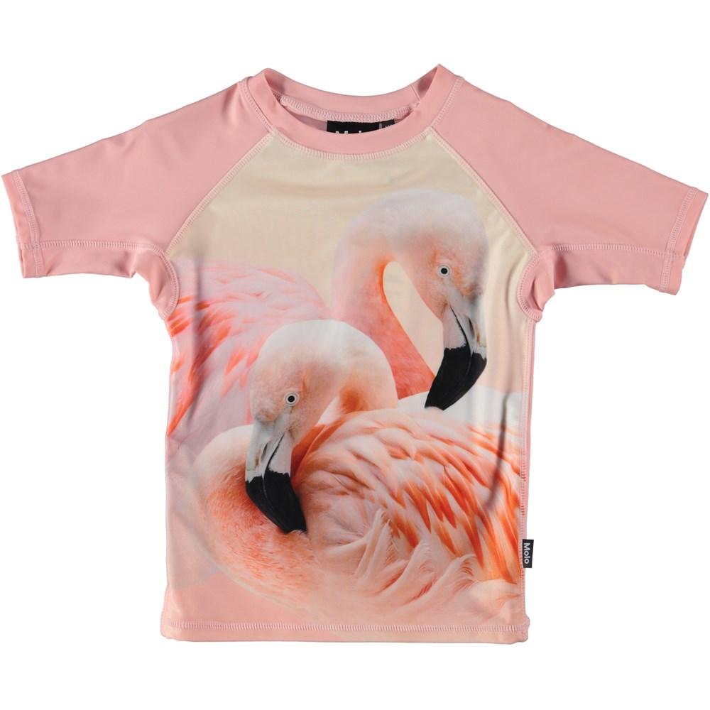 Neptune - Flamingo Dream - UV rash guard with flamingos.