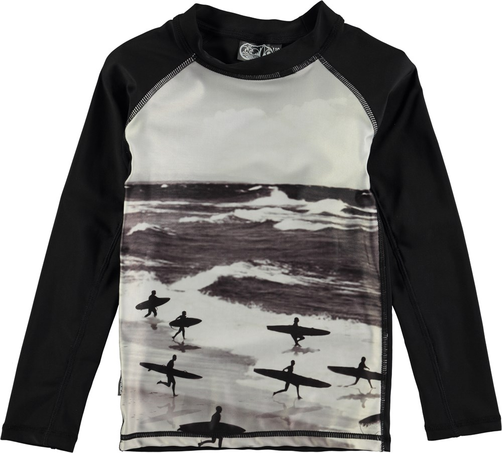 Neptune Long - Running Surfers - ong sleeve rash guard with surf print