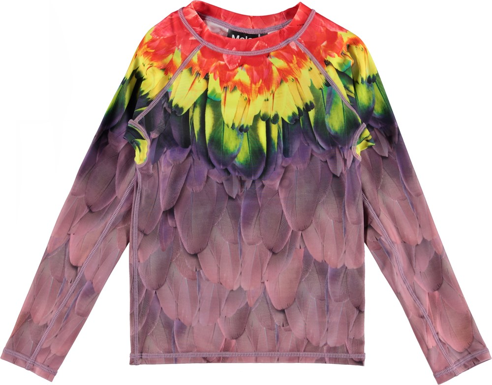 Neptune LS - Amazon Parrots - Long sleeve UV rashguard with feather print