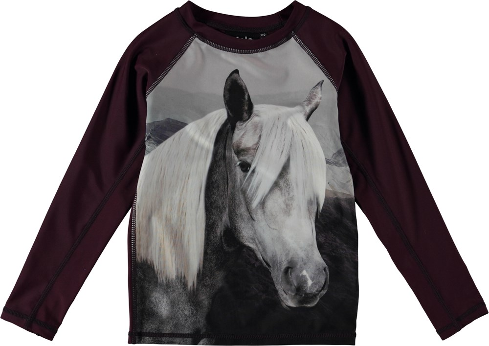 Neptune LS - Beauty - Long sleeve rash guard with horse