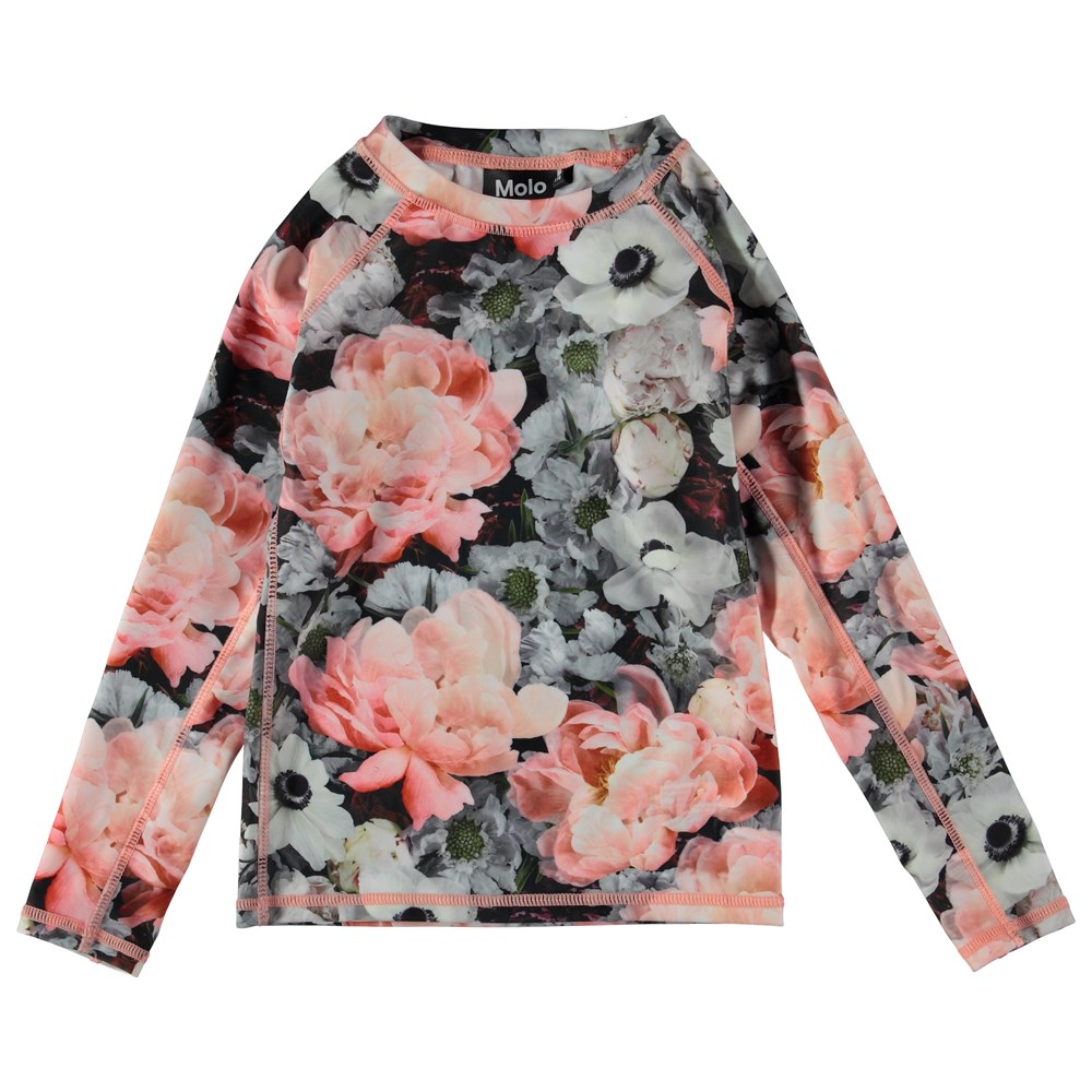 Neptune LS - Blossom - Long sleeve rash guard with flowers