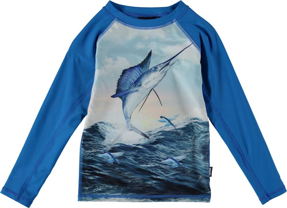 Neptune LS - Catch - UV rash guard with swordfish.