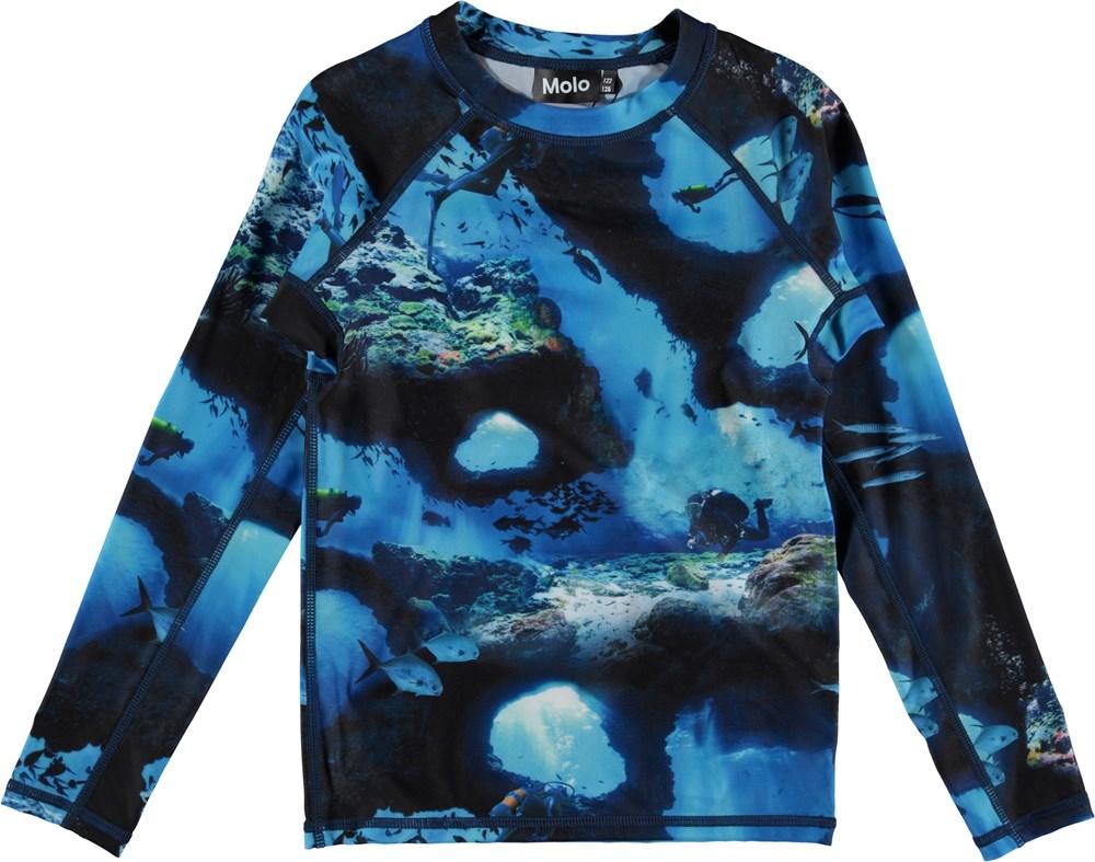 Neptune LS - Cave Camo - UV rashguard with underwater print