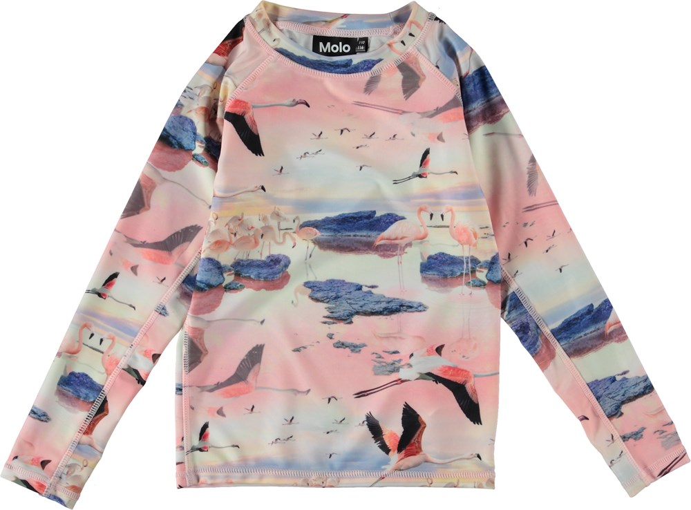 Neptune LS - Flamingo - UV rash guard with flamingos.