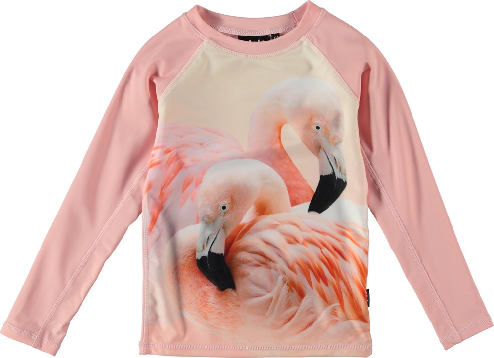 Neptune LS - Flamingo Dream - UV rash guard with flamingos.