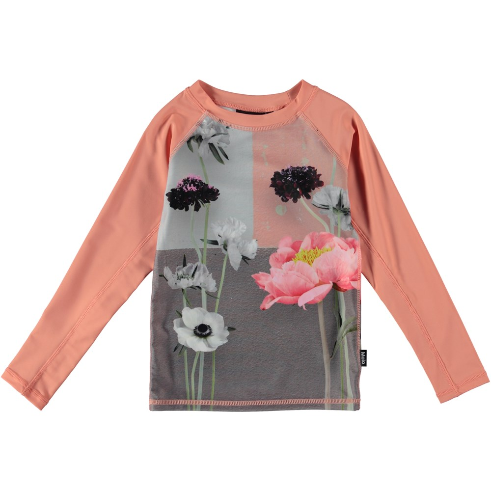 Neptune LS - Flower Wall - Long sleeve rash guard with flowers