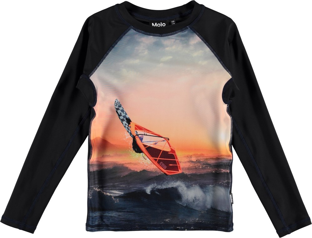 Neptune LS - Point Break - Long sleeve UV rashguard with surfer