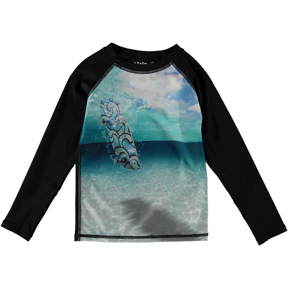 Neptune LS - Skateboard - Long sleeve rash guard with skateboard and ocean